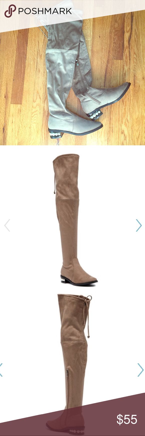 e7a73d92363 Catherine Malandrino Perse Over the Knee Boots Adorable thigh high boots in  neutral taupe (see stock photos for accurate color) with pearl embellished  heels ...