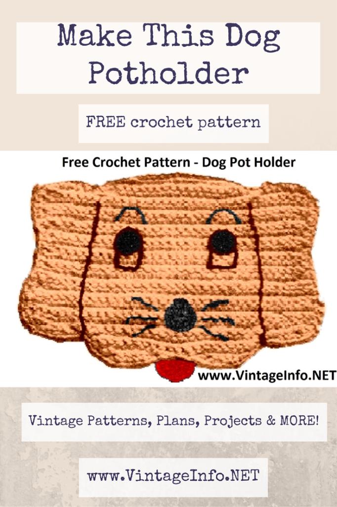 Dog Potholder Pattern - Free Crochet Pattern | Topflappen und Häkeln
