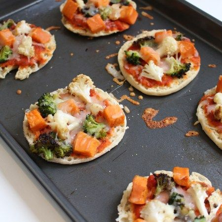 Roasted Veggie English Muffin Pizzas