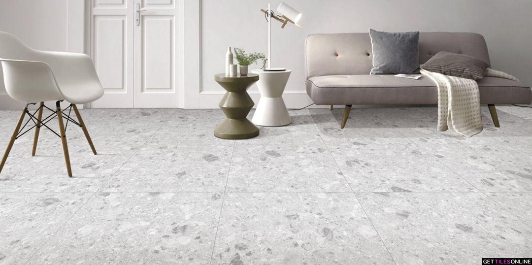 Norr Light Grey Terrazzo Look Matt 600x600 Code 01748 Get Tiles Online Terrazzo Light Grey Tiles Online