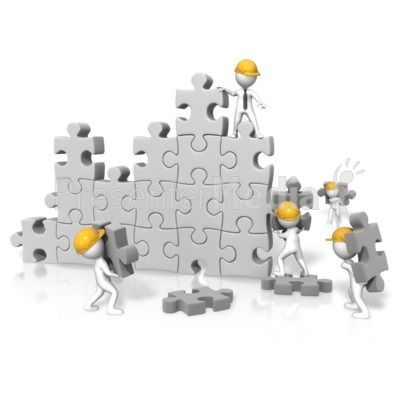 An Image Of A Large Puzzle Wall With Figures Working On Building It Powerpoint Clipart Illustrations Presentation Clip Art Powerpoint Animation