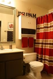Red and brown is all the stuff i have packed away that i for Brown and red bathroom ideas