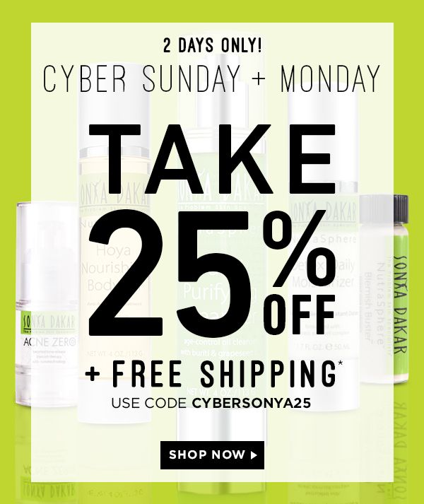 Time to stock Up! Shop Cyber Sunday Sale at Sonya Dakar at get the most gorgeous glowing skin this holiday! #greenskincare #highperformanceskincare