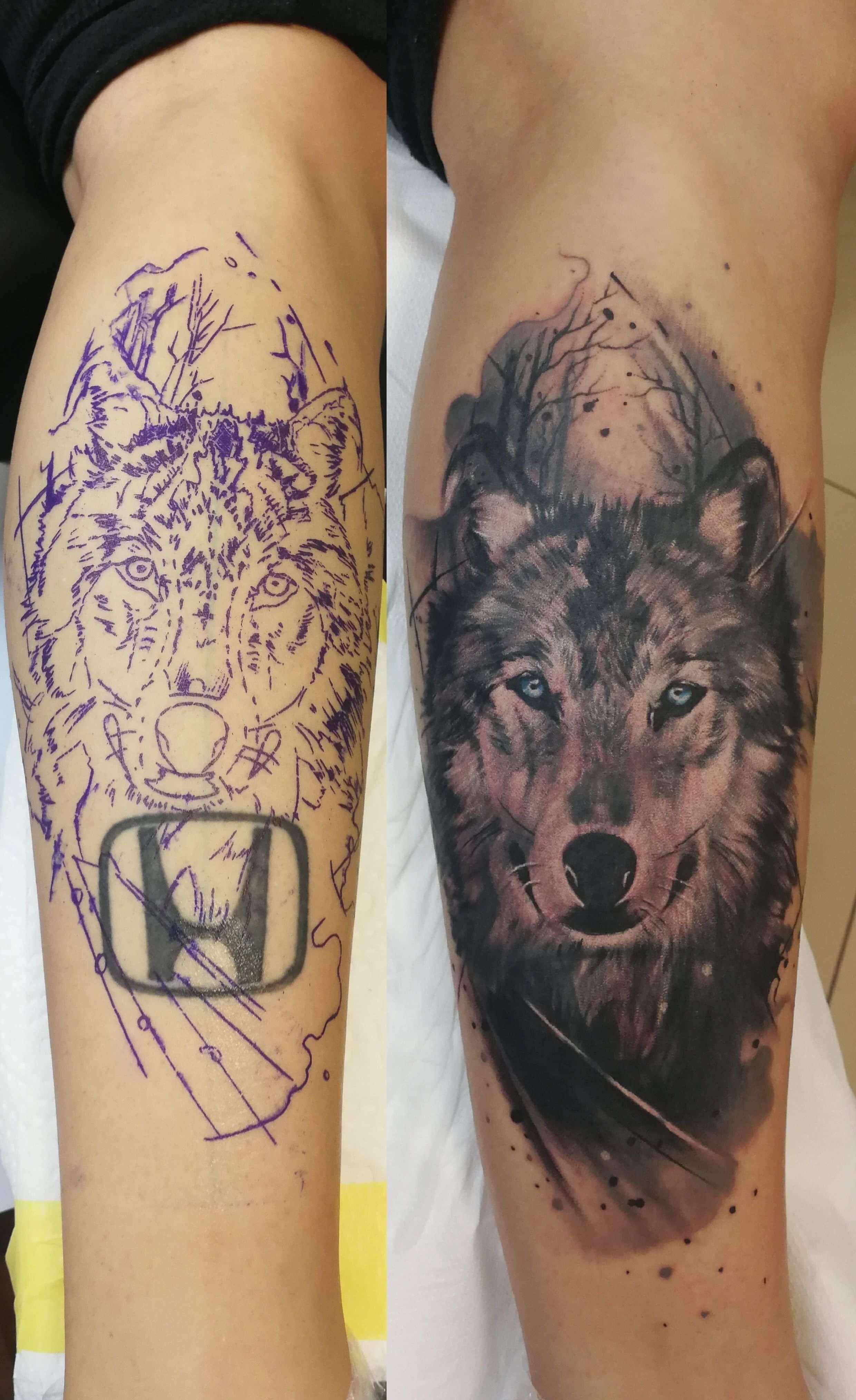 Coverup Tattoo Tattoomannheim Honda Andreisiclovan Wolf Wolftattoo Wulf Hautkultur Tattoo Mannheim Tattoo Und Piercing Tattoo Studio