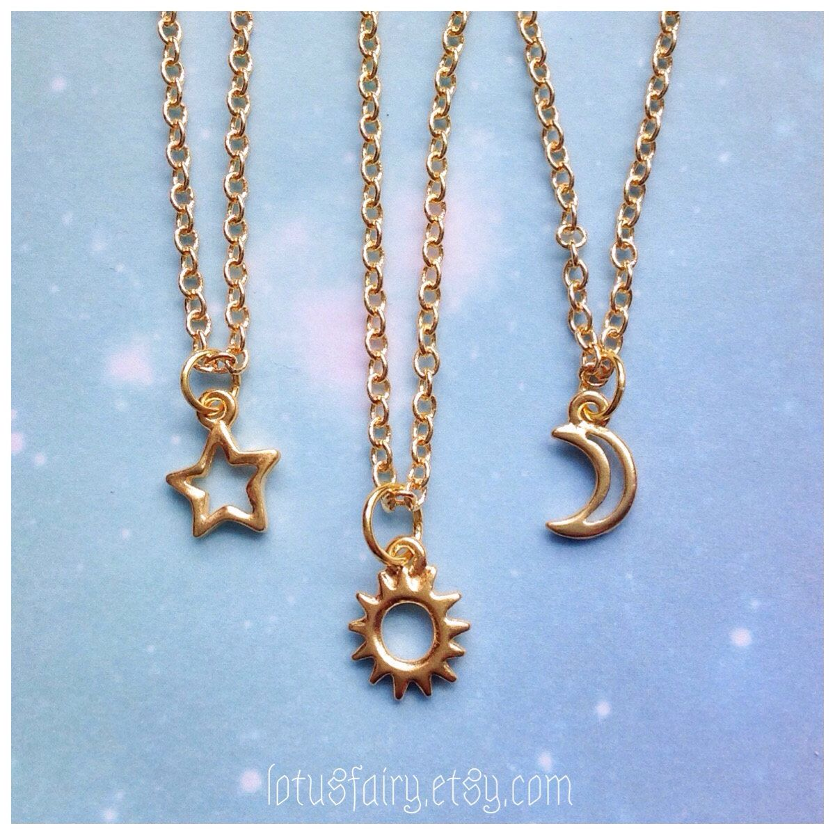 Moon or Star on dainty sterling and gold filled chains Silver and Gold Friendship necklaces your choice of Sun Set of Two