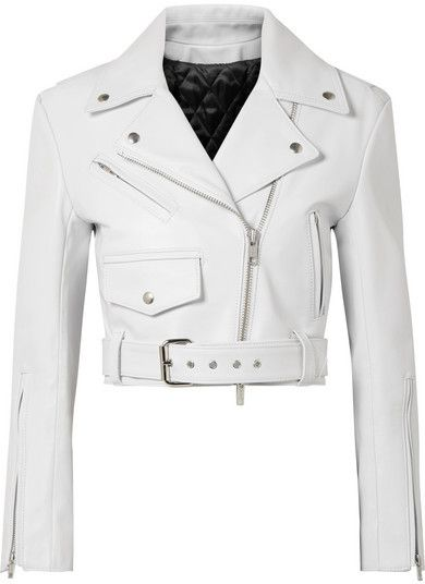 speical offer pretty nice outlet sale Calvin Klein Cropped Leather Biker Jacket - White | Products ...