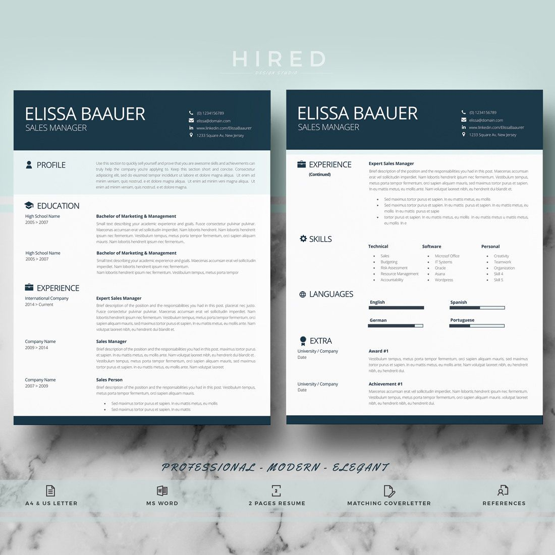 modern and professional resume template for word elissa 100 editable instant