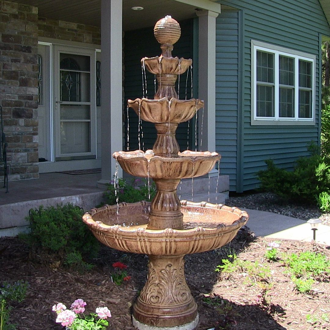 Delicieux Sunnydaze Large Tiered Ball Outdoor Fountain