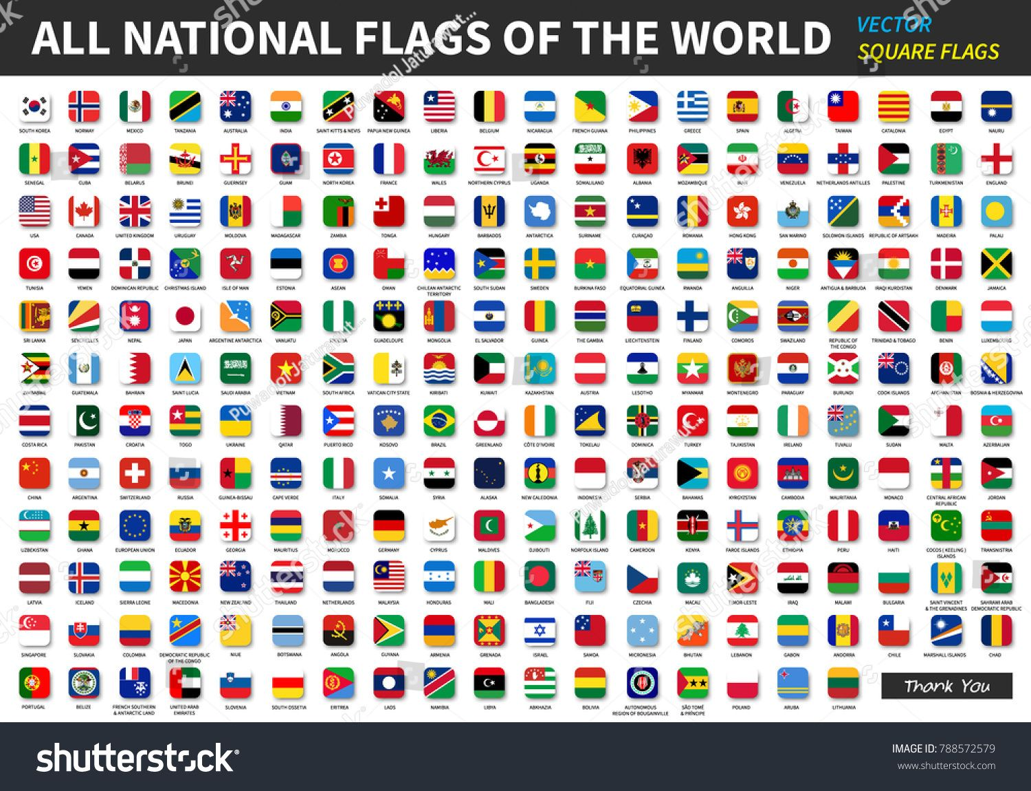 All Official National Flags Of The World Square Design Vector Flags National Official World Flags Of The World National Flag Flag Icon