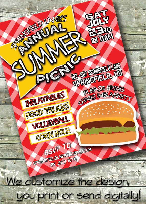 Summer Bbq ~ Hotdog Picnic ~ Church Or Community Event ~ 5X7