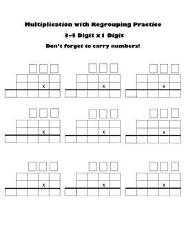 Autism Math: Blank Worksheet for Multiplying 3-4 Digits x 1 Digit