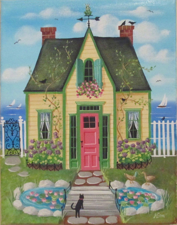Lily Pad Cottage Folk Art Print By Kimscottageart On Etsy Cottage Art Folk Art Painting Folk Art
