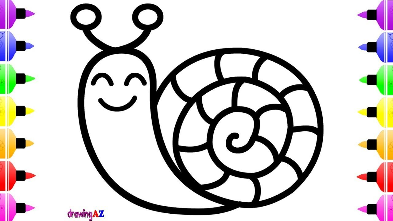 How to Draw a Cute Snail for Kids Coloring & Drawing and ...