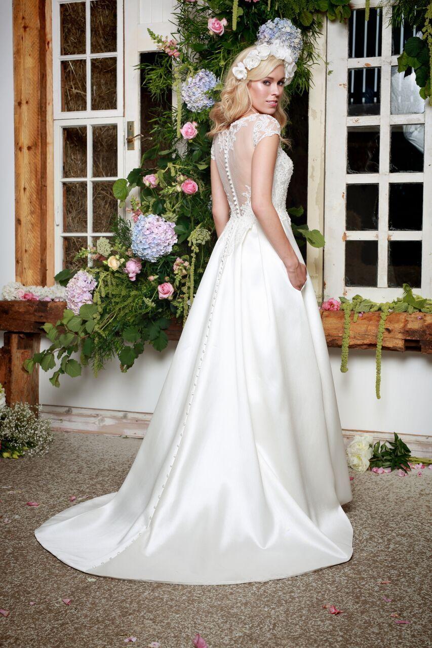 Wren  Matte Mikado  Full skirt  Wedding dress  Buttoned up back