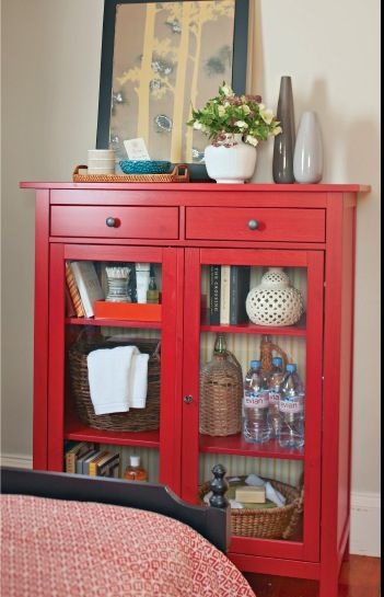 Red Painted Hemnes Linen Glass Front Cabinet 299 Ikea Featured In Better Homes And Gardens April 2013 Red Cabinets Guest Room Storage Cabinet