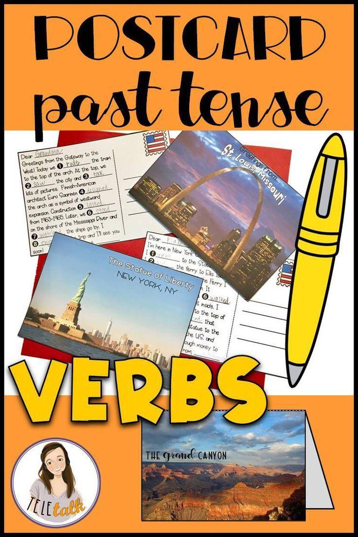 Postcard Past Tense Verbs for Regular and Irregular Verb