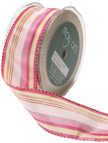 """5 Yds May Arts Mauve Pink Blue Striped Wired Ribbon 1 1//2/""""W"""