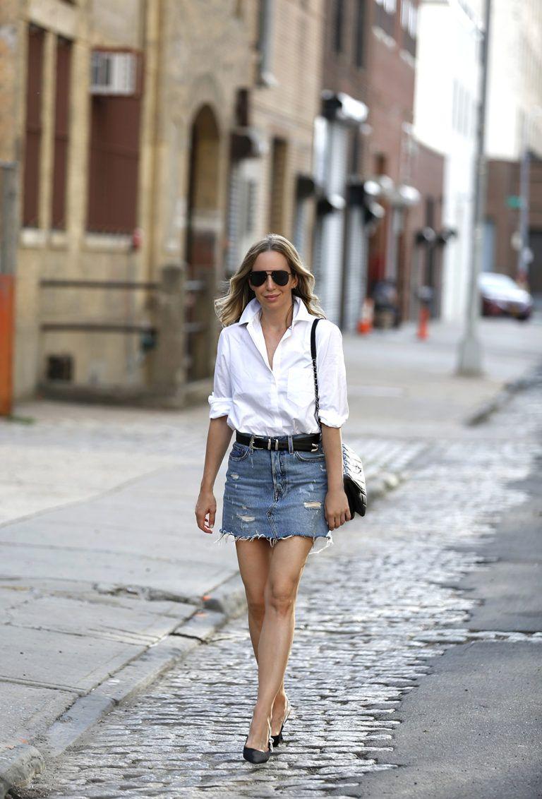 e9155b24f Levi's Denim Skirt, Alix White Button Down Bodysuit, Helena of Brooklyn  Blonde