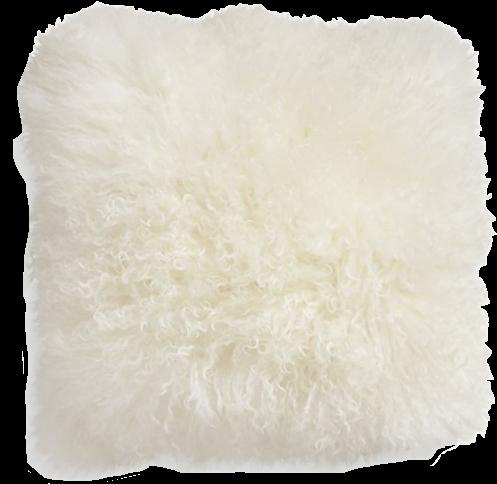 Pelliccia Ivory Mongolian Lamb Fur Pillow Eur Throw