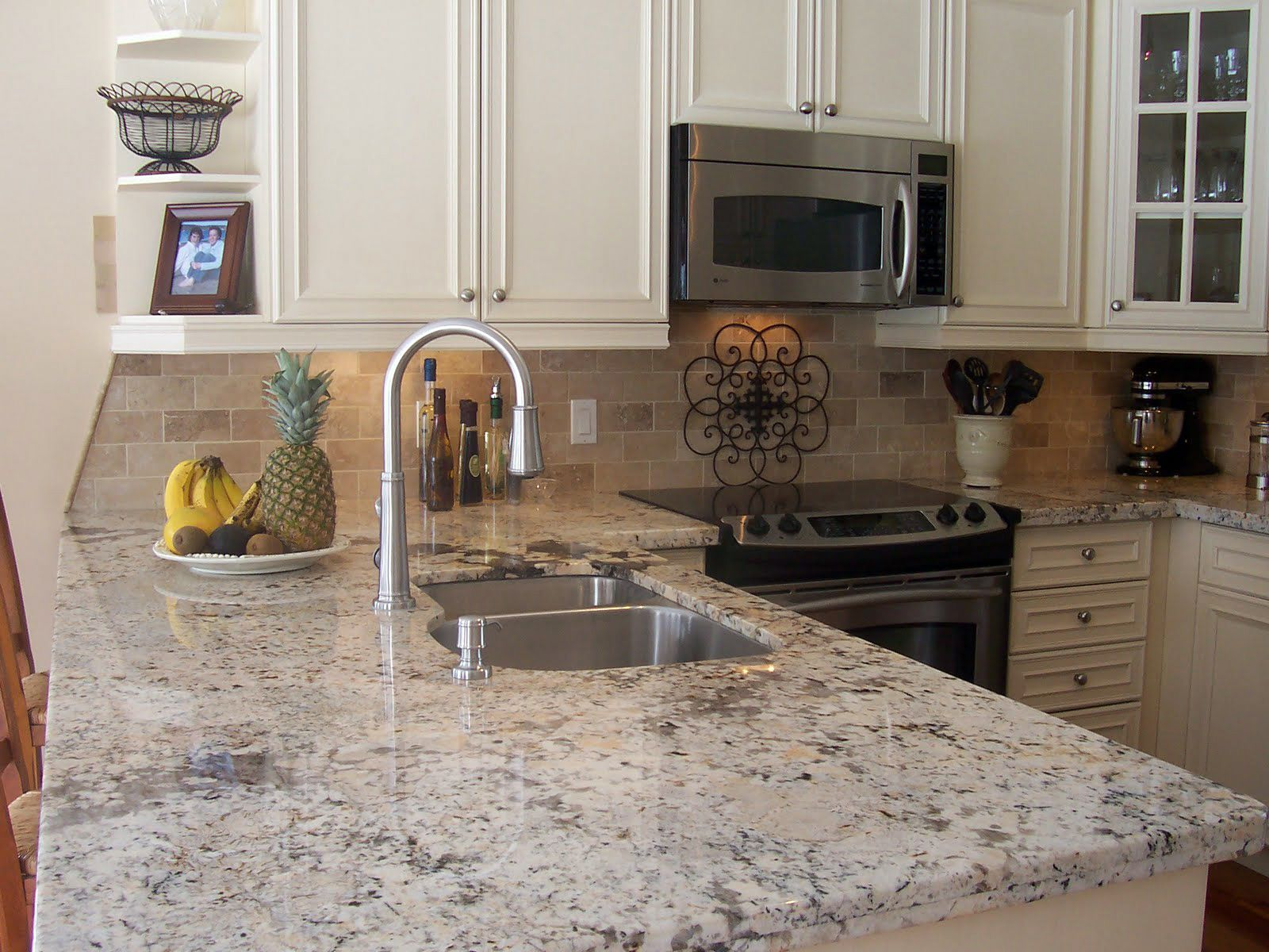Kashmir White Granite Kitchen Countertop Island Finished Installed