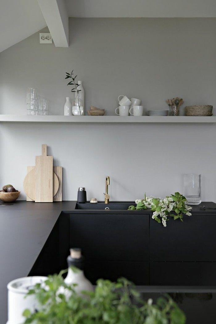 Küchengestaltung Wände moderne küchen schwarz matt für die küchenmöbel und weiße wände
