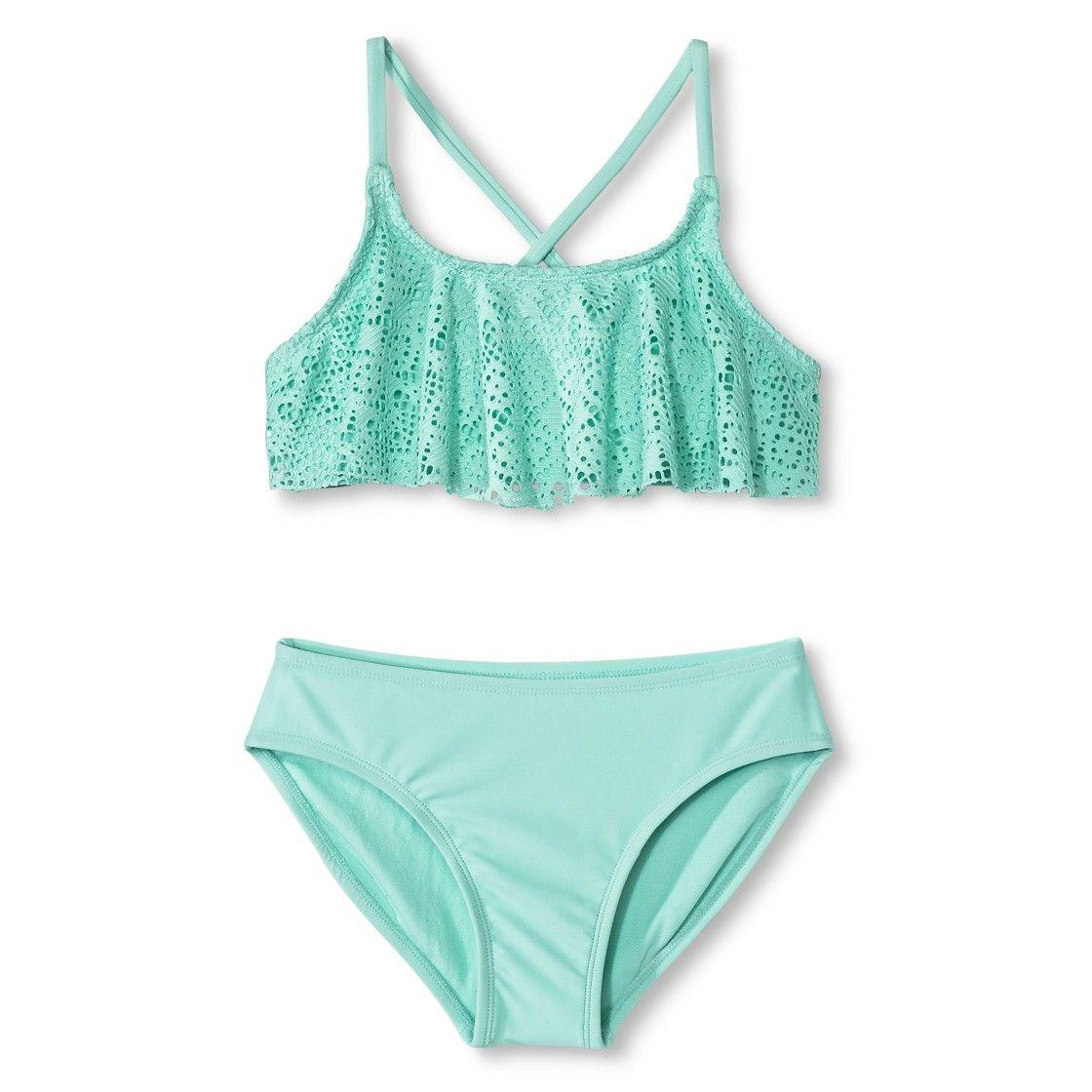 65ba45f32 Girls' 2-Piece Crochet Top Bikini Set | My Kids - Lucibella | Girls ...