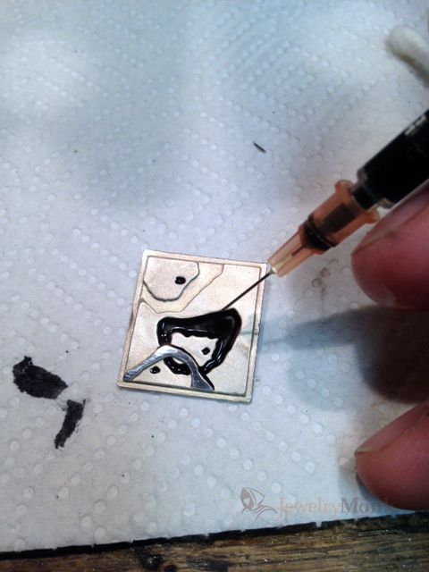 Using high heat bbq paint to add black contrast to jewelry  .. hmm
