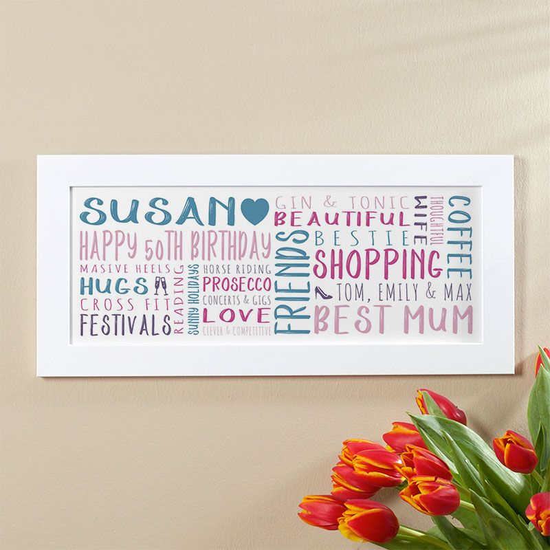 50th Birthday Gift For Her Of Personalised Panoramic Word