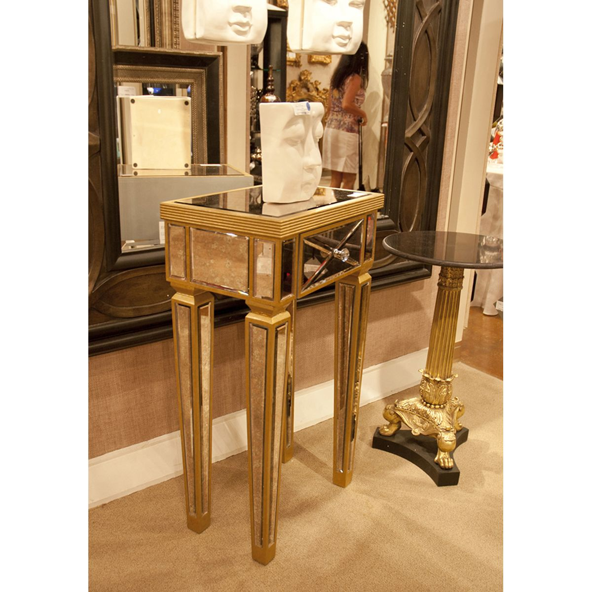 Howard elliott antique gold mirrored pedestal 99066 howard explore gold end table end tables and more howard elliott antique gold mirrored pedestal 99066 geotapseo Image collections