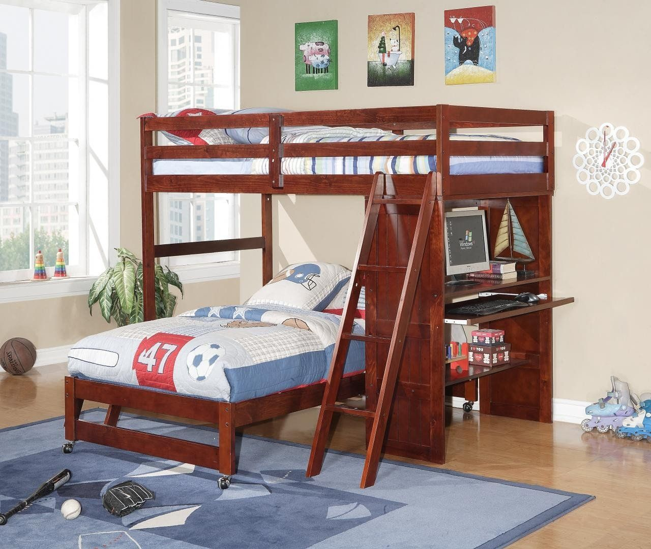 Loft bed with slide wayfair  Donco Kids LoftDesk Bed Cappucino CP  Desk bed and Products
