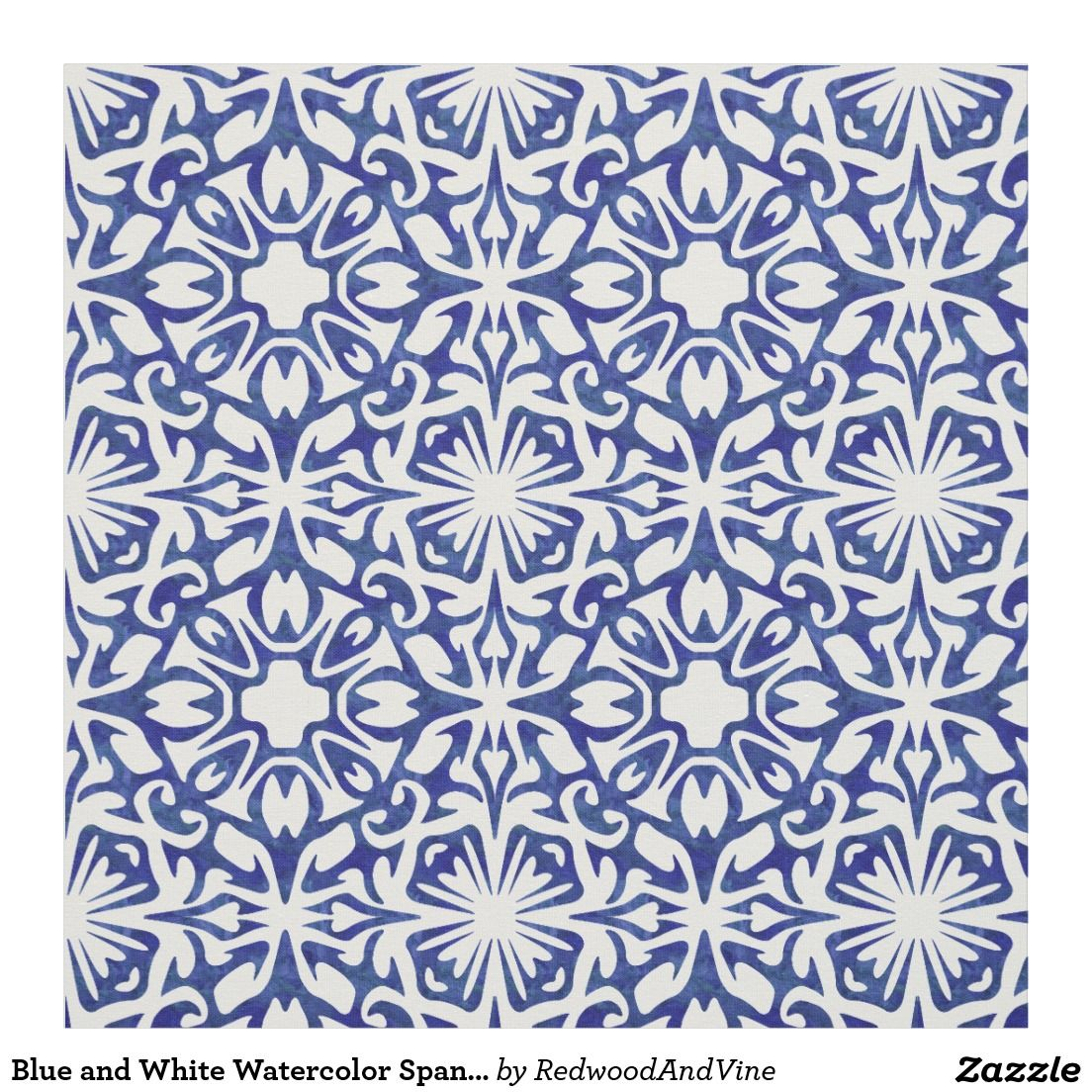 Blue And White Watercolor Spanish Tile Pattern Fabric Blue Tile