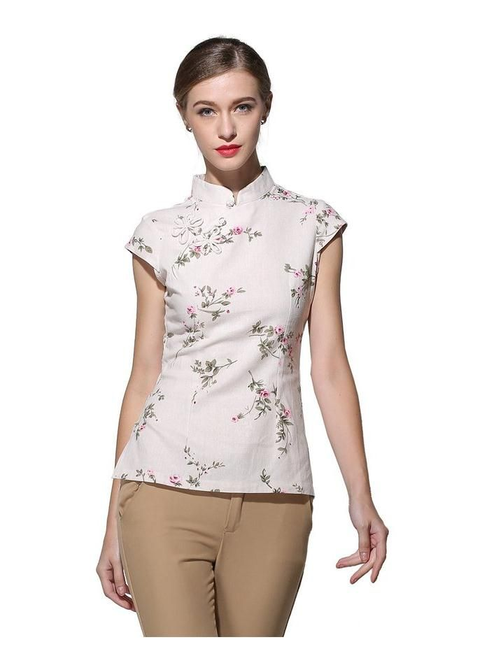 2129c09548a26 High Quality Beige Women Elegant Flower Shirt Chinese Vintage Cotton Linen  Blouse Summer Tang Suit Top