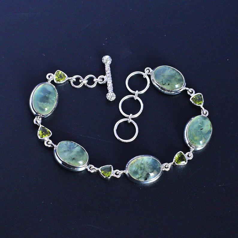Green Gemstone Boho Bracelets Bohemian Jewelry Gift for Her Gold Prehnite Bracelet Designer Bracelets Gold Cuff Bracelet