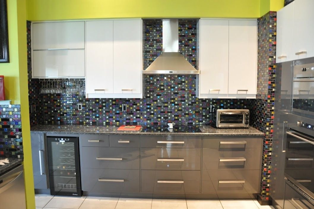 A Funky Kitchen In Dark Grey White And Lime Green With An Awesome