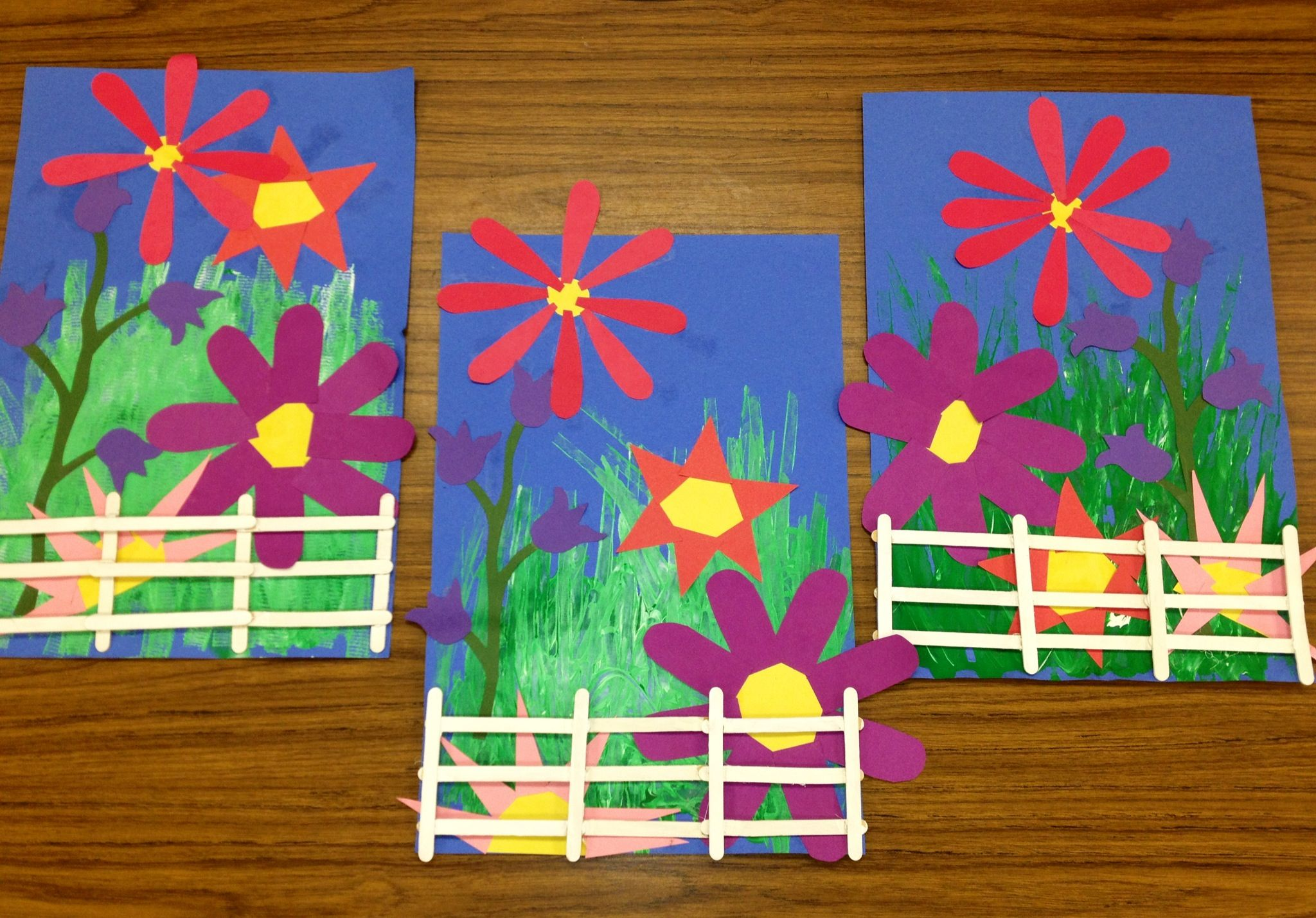 Kindergarten Garden Collage With Wooden Fence Art Teacher