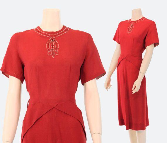 vintage 1940s lipstick red rayon crepe dress  / art deco by VindemialVintage