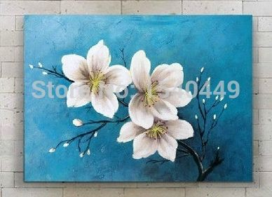 Hand Painted Oil Painting On Canvas Modern Art White Flower Lily Wall