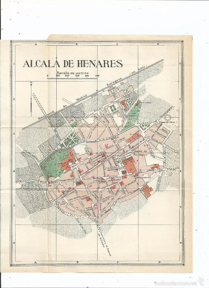 Mapa Alcala De Henares.Plano Dealcala De Henares Madrid 1932 24x20 Cm