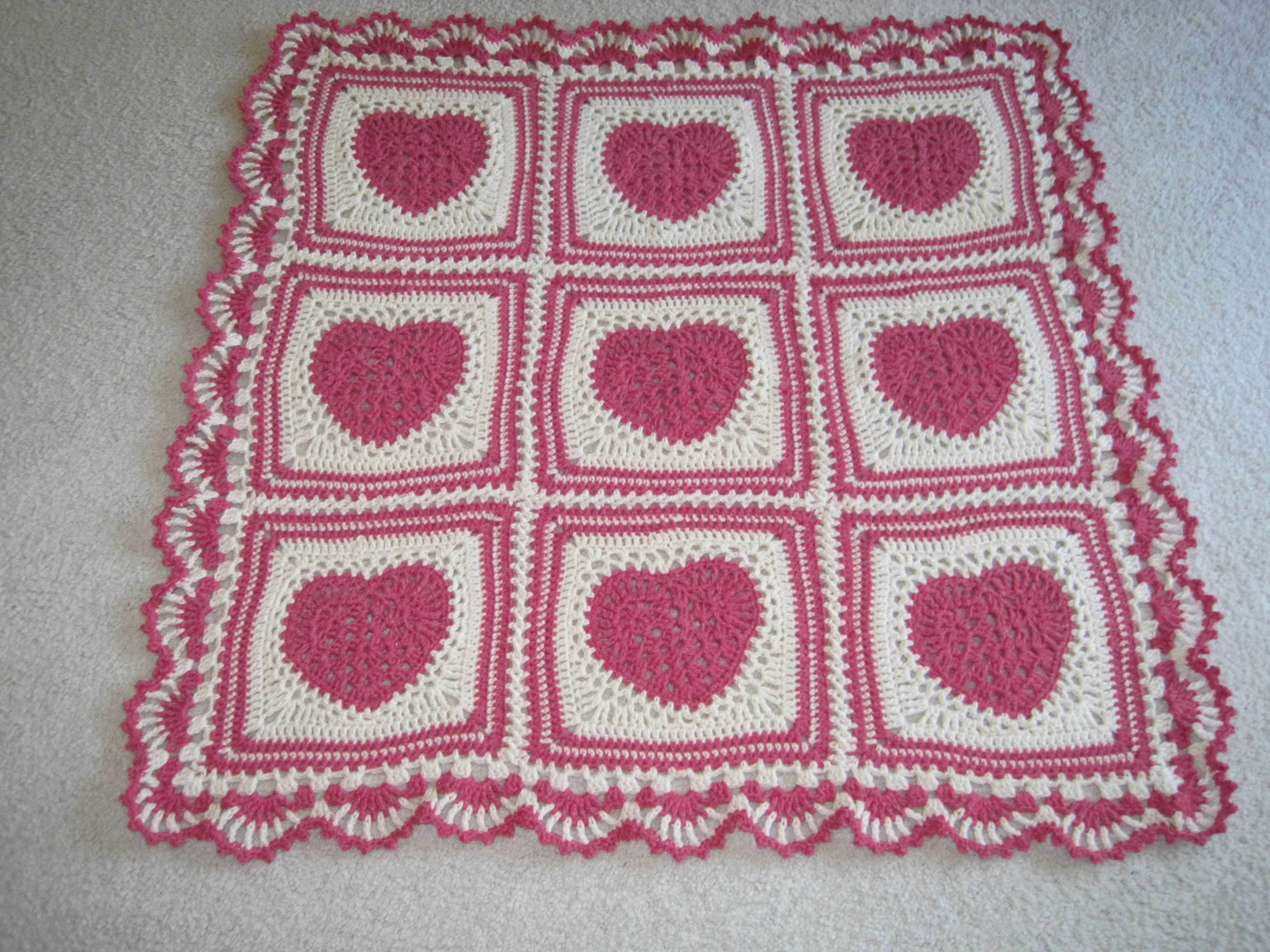 Crocheted heart blanket crochet baby blankets crochet baby and crocheted baby blanket pink and white lacy hearts with border for valentines bankloansurffo Images