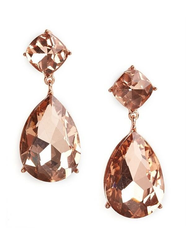 Rose gold & morganite color earrings / soft blush is perfect for wedding<3
