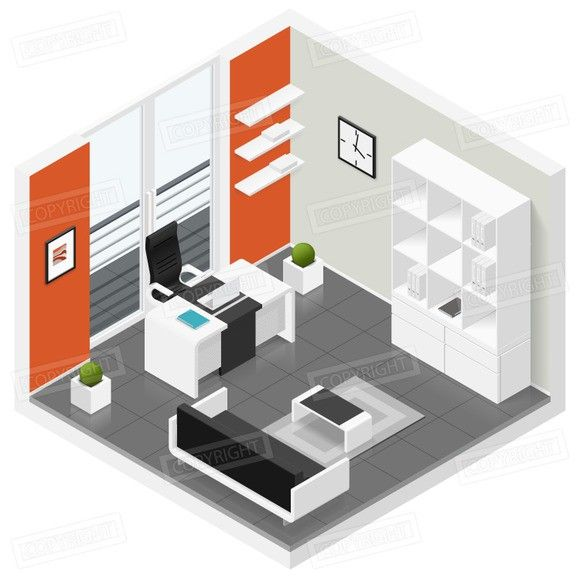 Home Offices Room Isometric Icon Set Perspectief Illustrator Huis