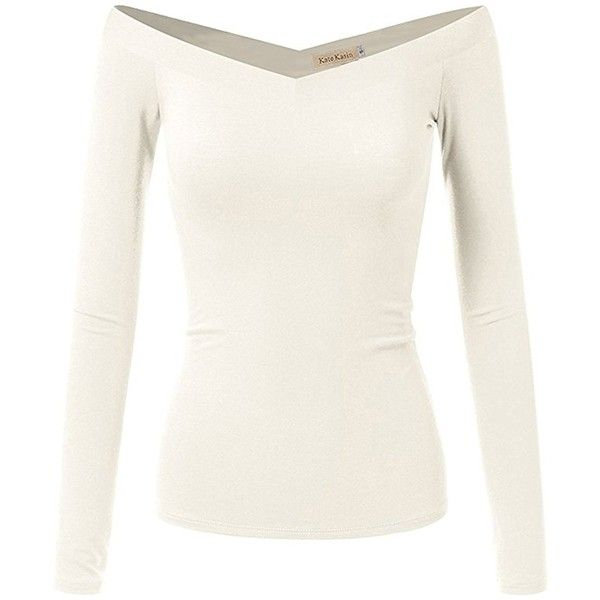 a8266b7033b48 Fitted Elastic Neckline Shirts Women Off Shoulder Long Sleeve Top(M ...