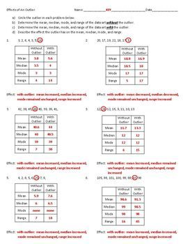 Outlier On Mean Median And Mode Worksheet Worksheets for all ...