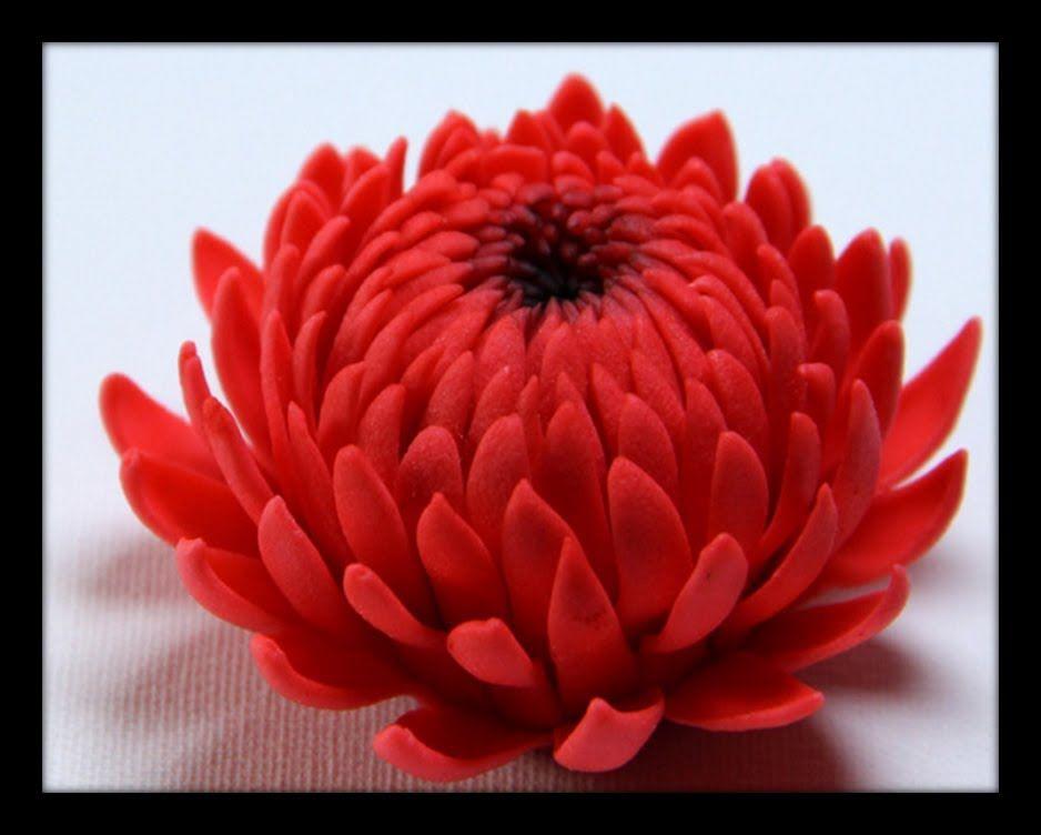 Gumpaste Flowers How To Make Gumpaste Chrysanthemum Sugar Flowers Tutorial Polymer Clay Flowers Fondant Flower Tutorial