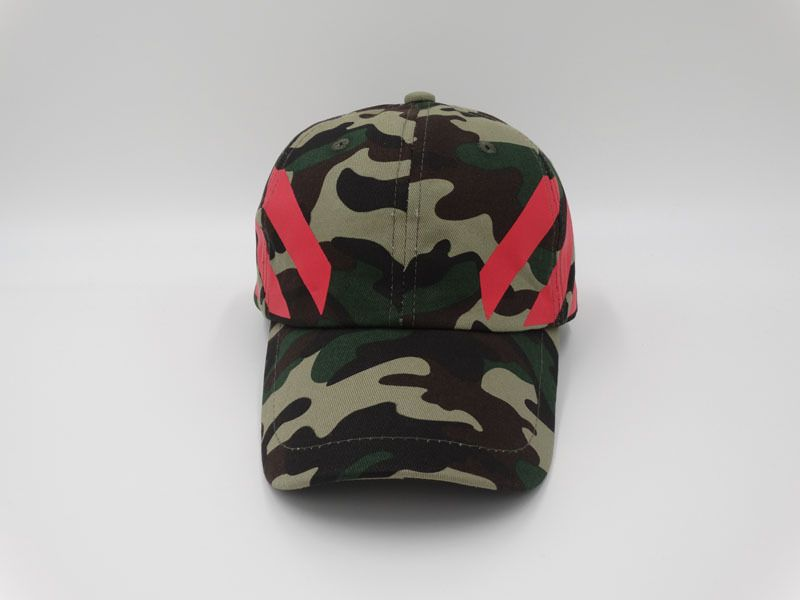 Men s   Women s Off White C O Virgil Abloh Striped Ripstop Baseball Dad  Adjustable Camp Hat - Woodland Camo   Red 7060fec801
