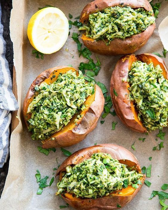 Chicken Pesto Stuffed Sweet Potatoes {Paleo, Whole30}