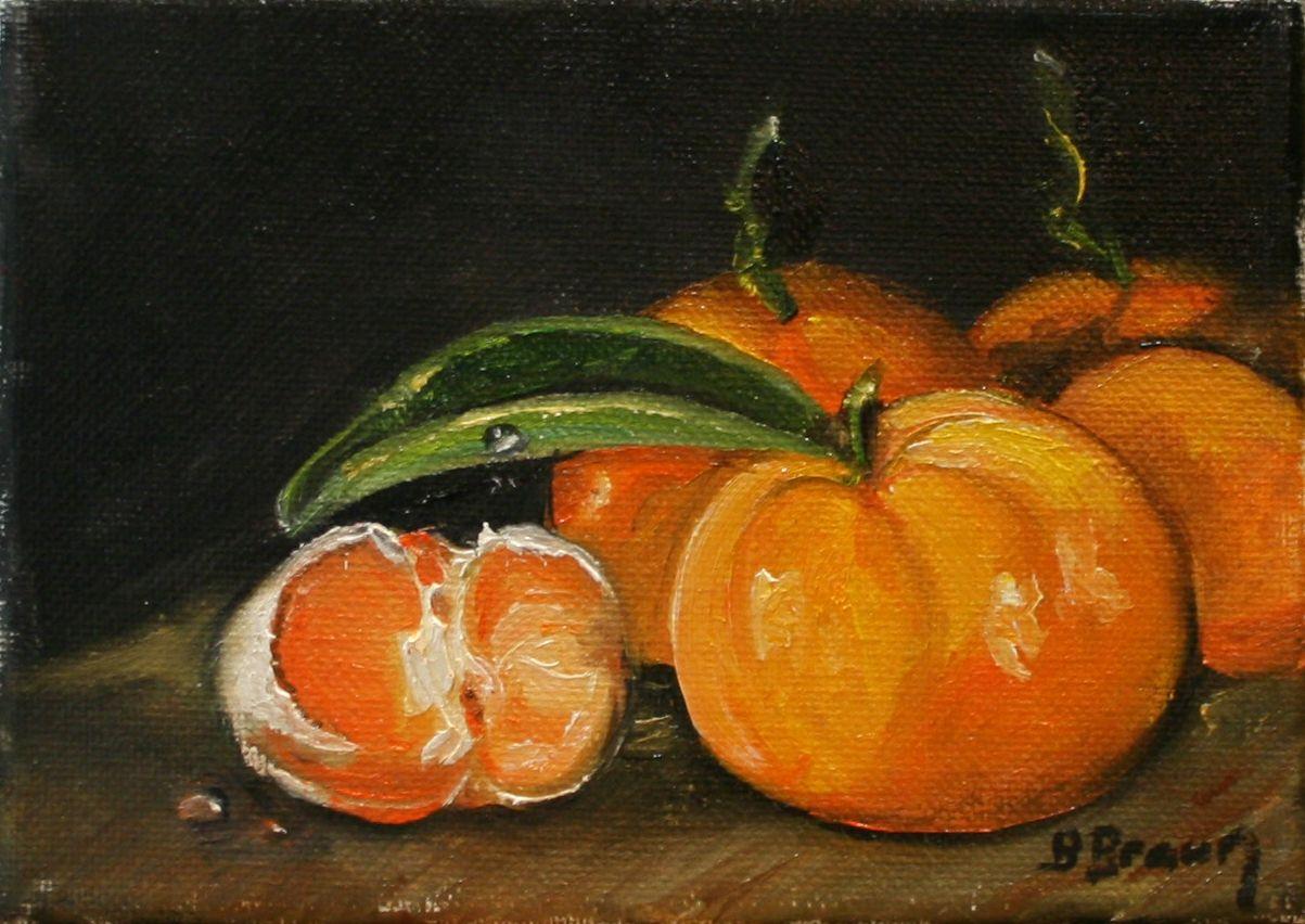 """Tangerines 5"""" x 7"""" Still life https://www.etsy.com/shop/BarbBrownsFineArt https://www.etsy.com/shop/BarbBrownsFineArt"""