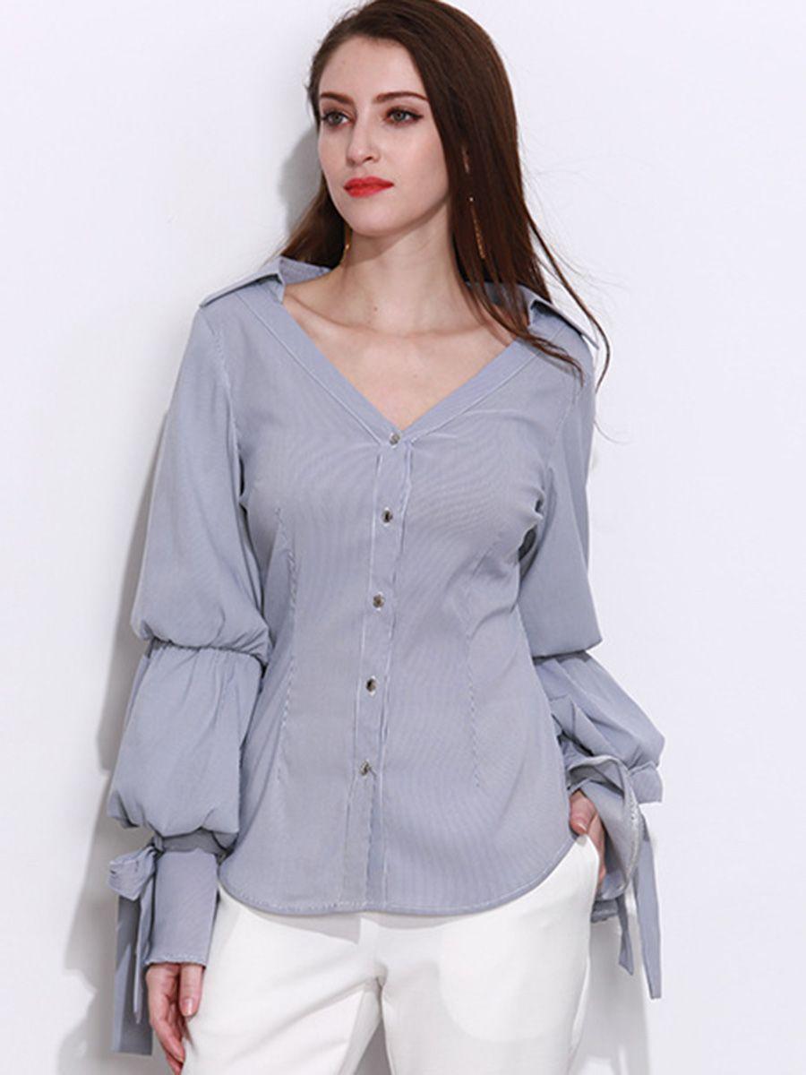 blouse shirt women fashion lantern sleeve long sleeve blouses v neck femme  office striped elegant girls 91b6e8711650