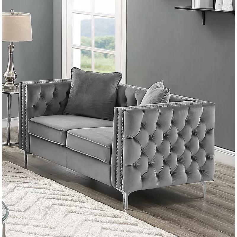 Letcher Velvet 63 Square Arm Loveseat Modern Velvet Sofa Love Seat Furniture