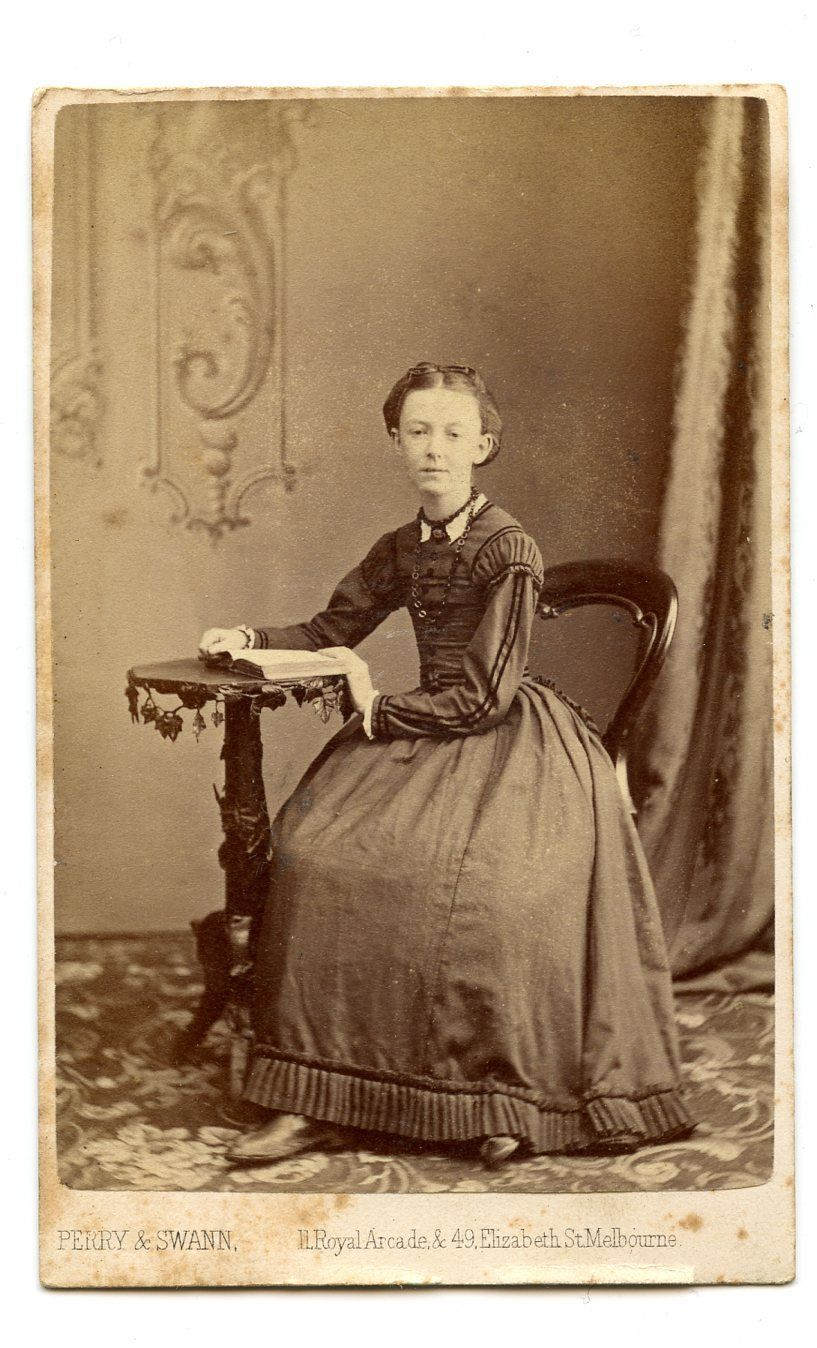 1860s Melbourne Australia Girl Huge Crinoline Dress CDV Photo Carte De Visite